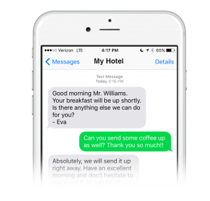 Guest texting with a hotel front desk agent
