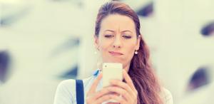 Woman texting chatbot