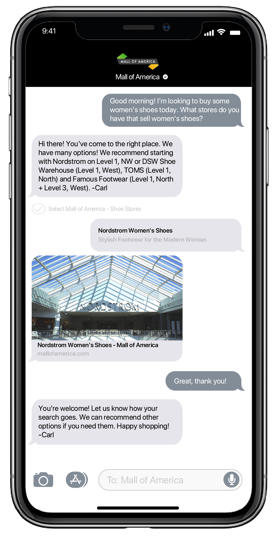 Mall of America Apple Business Chat Messaging Example